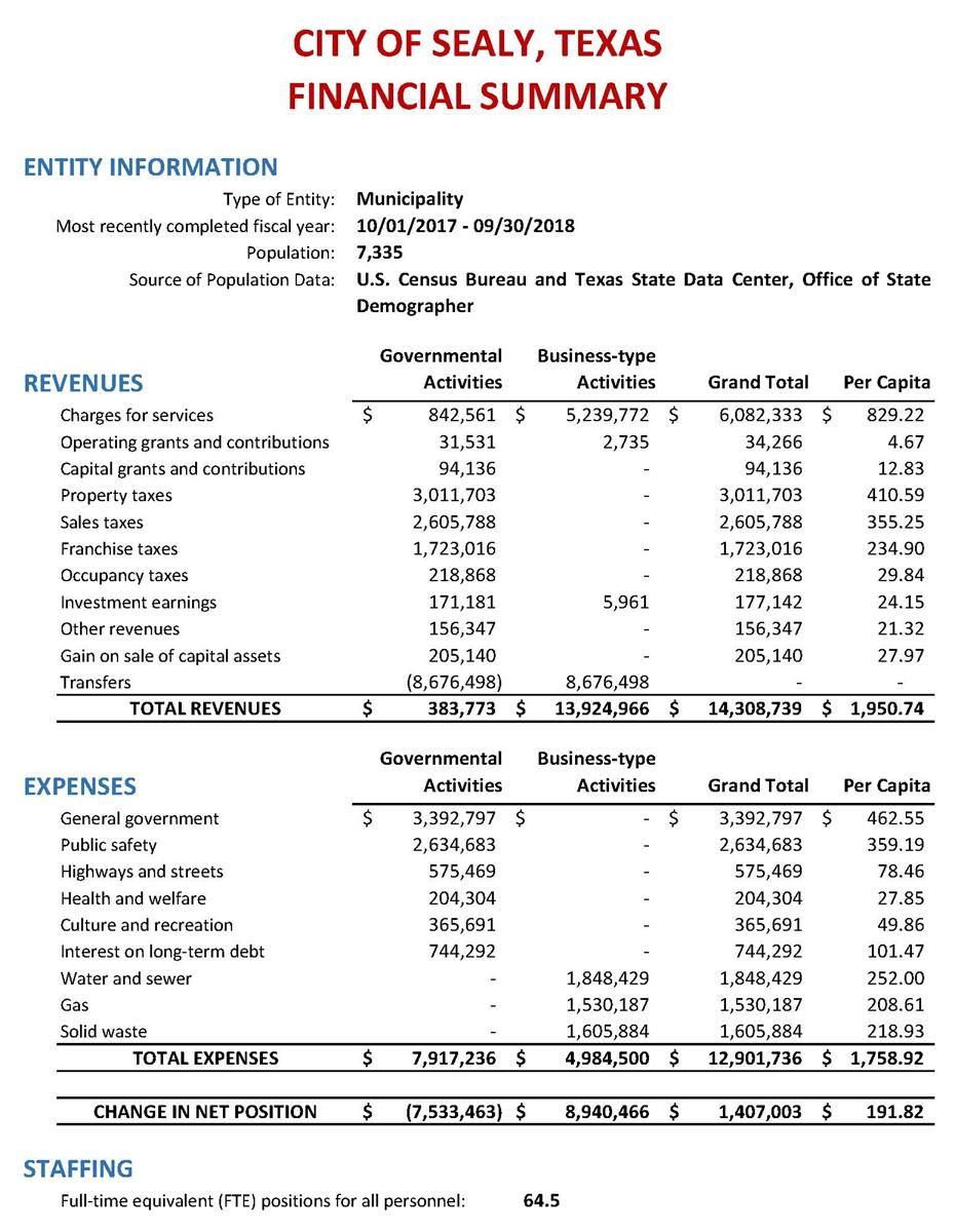 2018 Financial Summary