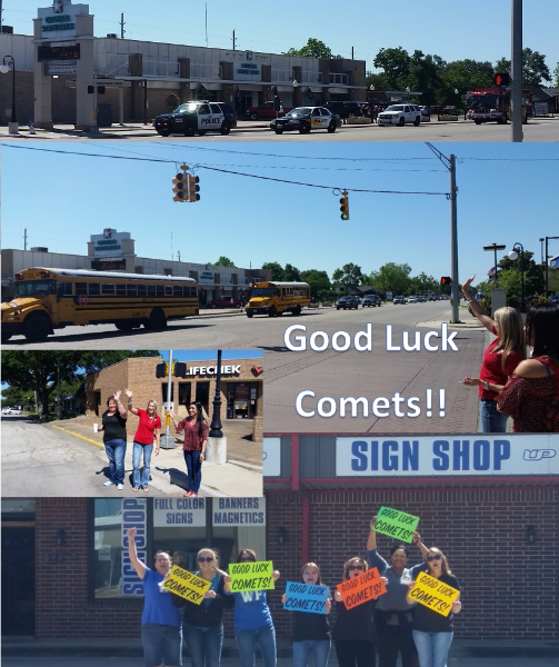 The Special Olympics team had its send-off parade the morning of May 5, 2017. Supporters sent good luck wishes to the Comets!