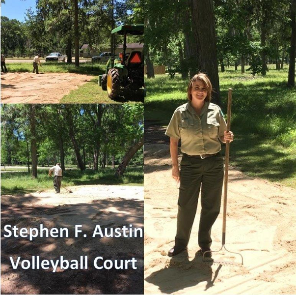 Sealy Interim Public Works Director,  Lawrence Siska, and Streets personnel, Wesley Gajewski, assist Stephen F. Austin State Park staff restore their volleyball court after being damaged by last year's floods.