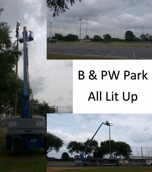 New light bulbs were installed at the B&PW park on May 10, 2017. The future looks bright for Little Leaguers!