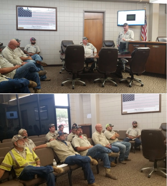 Public Works Department attending monthly Safety Meeting at City Hall.
