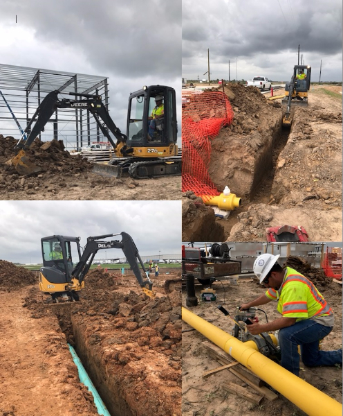 Public Works Gas Department working on gas line installation at the SIKA location off of FM 3538